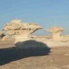 De zwarte en witte woestijn met Crystal Mountain in Egypte