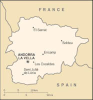 Landkaartje Andorra / Bron: United States Central Intelligence Agency, Wikimedia Commons (Publiek domein)